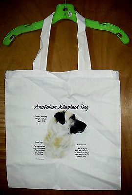 """ANATOLIAN SHEPHERD  """"History of the Breed"""" Cotton Tote Bag /15""""x15"""" [Full color]"""