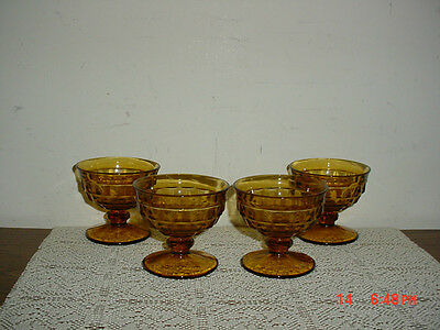 """4-Pc Indiana Glass """"amber"""" Cube 3 1/2"""" Pudding-Dessert Glasses/vintage/clearance"""