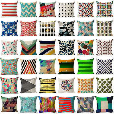 Vintage Geometric Cotton Linen Throw Pillow Case Cushion Flower Cover Home Decor