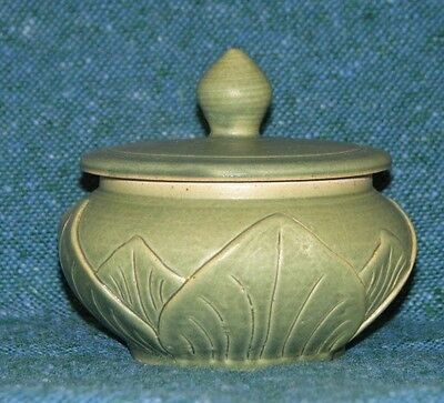 Celadon Green Ceramic/Pottery Round Box w/Leaves Leaf Motif made in Bali