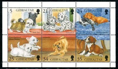 Gibraltar 1998 Cute Puppies - Dogs Mint Set Of 6 In A Sheet - $6.50 Value!
