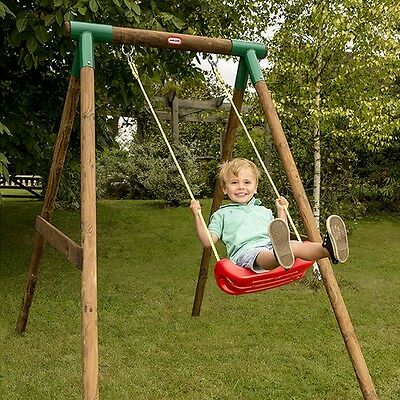 Kids Garden Swing Set Children Baby Wooden Outdoor Play Game Seat Outside Toy