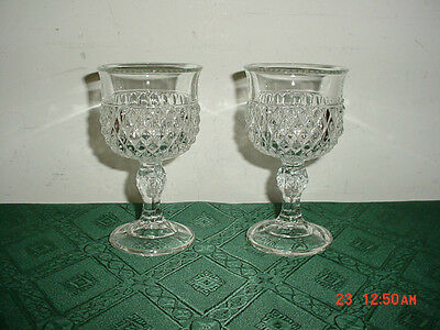 """2-Pc Indiana Clear Glass """"diamond Point"""" 5 1/4"""" Pedestal Wine Goblets/clearance!"""