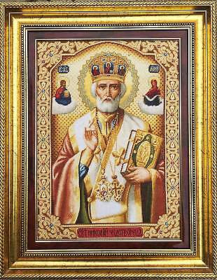 Embroidered Picture with Half-Cross, Saint Nicholas handmade