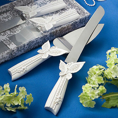 Beautiful Wedding Cake Serving Set with Butterfly Design Cake Knife and Server