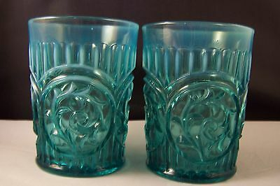 Pair Of Antique Dugan 1905 Glass Tumblers Circle Scrolls Blue Opalescent
