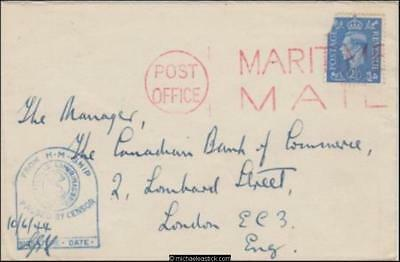 Unknown 1944 (Jun) Censored WWII MARITIME MAIL Military Cover to London