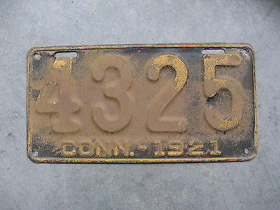 1921 21 Connecticut Ct License Plate Nice Tag Single 4325 Nice Tag