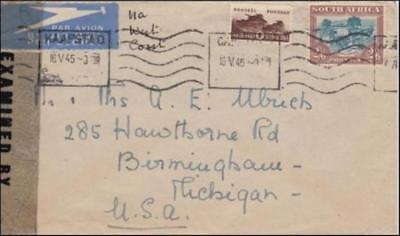 South Africa 1945 (May) Censored Commercial Cover to Michigan USA