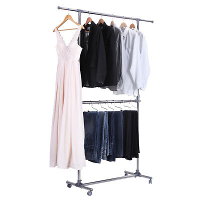 Songmics Double Garment Rack Adjustable Height Clothes Hanging Rail Rack LLR401