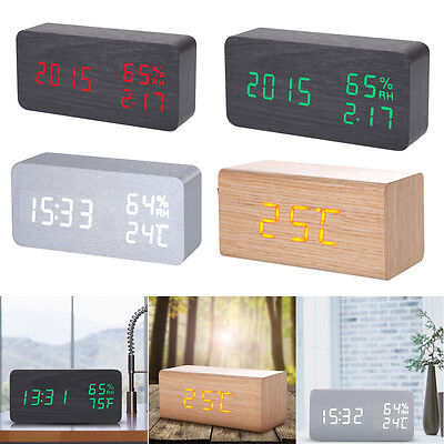Wooden Wood LED Digital Voice Control Temperature Clock Desk Alarm Thermometer