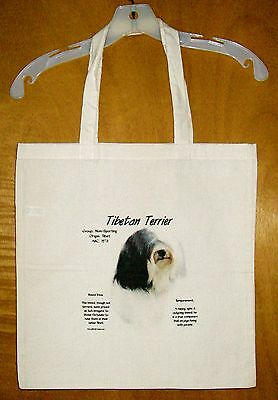 "TIBETAN TERRIER ""History of the Breed"" Cotton Tote Bag  / 15""x15"""