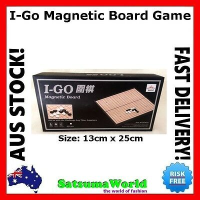 I-GO Chess Checkers Board Game Magnetic Carry On Box New Black and White