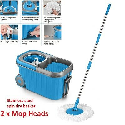 Spin Mop Stainless Steel 360 Degree Spinning Dry Bucket with Wheels 2 Mop Heads
