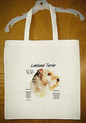 "LAKELAND TERRIER  ""History of the Breed"" Cotton Tote Bag  / 15""x15"""