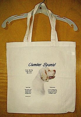 "CLUMBER SPANIEL  ""History of the Breed"" Cotton Tote Bag  / 15""x15"""