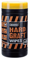 2 Tubs Of Draper Hard Graft Wipes Antibacterial Garage Home Tools Clean 54186X 2