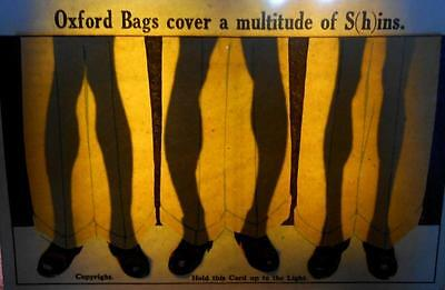 Hold to Light Novelty Postcard - Oxford Bags Cover a Multitude of S(h)ins
