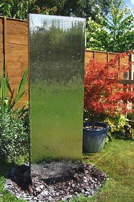 Free Standing Wall Partition Water Feature Fountain Cascade Silver Steel Garden
