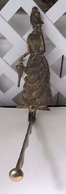 Victorian Style Brass Wall Mounted Lady 6 notches for Hangers  Folding Arm