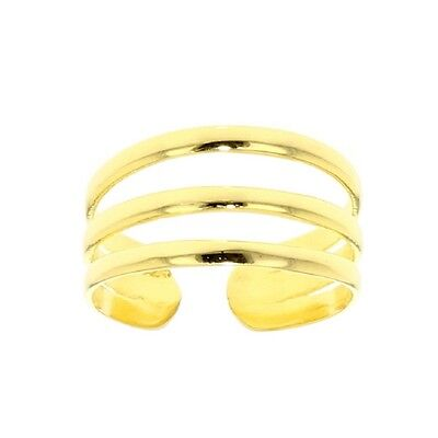 Yellow Gold Plated .925 Sterling Silver Adjustable 3 Rows Toe Ring
