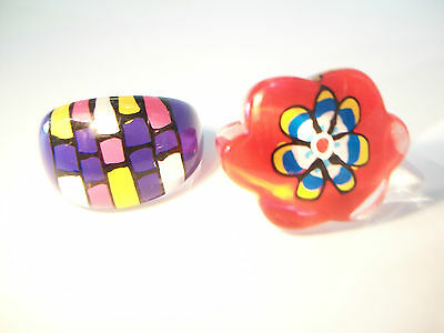 Two Vintage Back Painted Lucite Rings - Size 7 3/4 - Unsigned - Late 20th C.