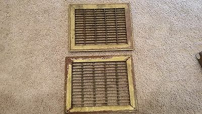 2 Antique Vintage Metal Floor Grate Vent