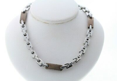 White & Chocolate Copper Plated Two-Tone Stainless Steel 7mm Necklace