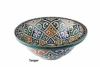Tanger Ceramic Hand painted Moroccan Bathroom Sink Basin ,Painted in/out