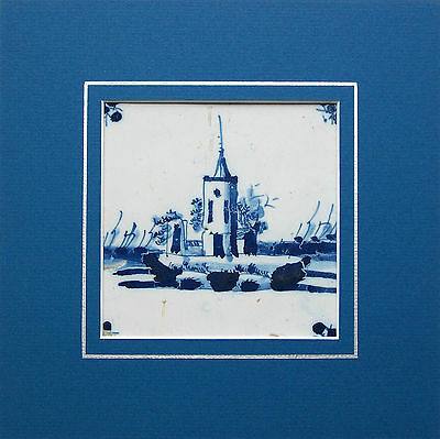Antique Dutch Delft Ceramic Tile - Hand Painted Castle - Framed - 17th Century