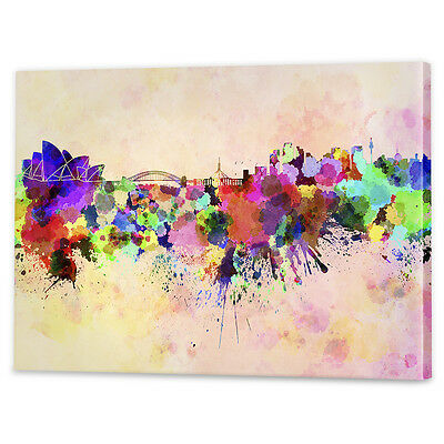 Sydney Skyline Watercolour Canvas Art | Framed Ready to Hang Wall Prints