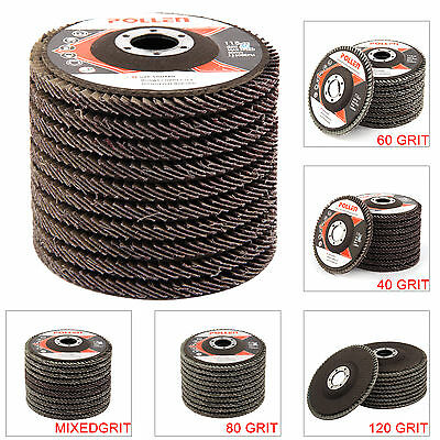 "10 PCS FLAP DISCS 115mm 4.5"" SANDING GRIT GRINDING WHEELS 40 60 80 120"