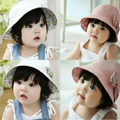 Kids Baby Girls Flower Princess Bowknot Hat Infant Summer Bucket Sun Cap Hat