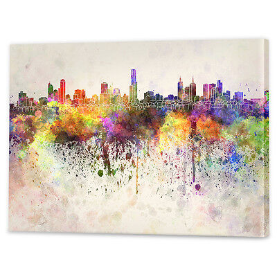 Melbourne Skyline Watercolour Canvas Art   Framed Ready to Hang Wall Prints