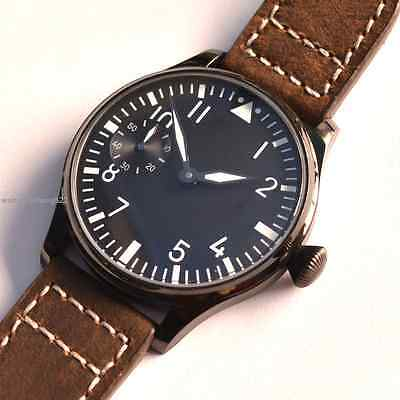 44mm Parnis Luminous Black Dial 316L PVD Case hand winding 6497 mens Watch 082