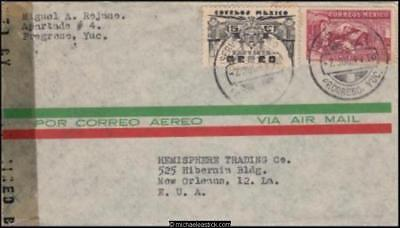 Mexico 1944 (July) Censored Commercial Cover Yucatan to New Orleans LA USA