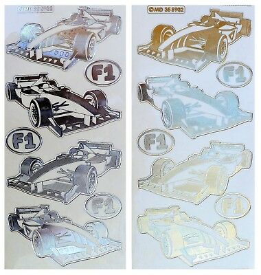 EMBOSSED FORMULA 1 CARS Peel Off Stickers Gold or Silver Clear Sticker Racing