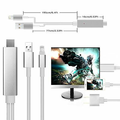 2M Dock to HDMI HDTV TV ADAPTER USB CABLE For iPad Mini iPad 5 iPhone 6 6S 5 5S