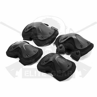 Tactical Combat Military USMC Army SWAT Black Protective Knee&Elbow Pads Pad Set