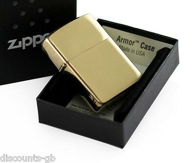 Zippo Brushed Brass / Gold ARMOR (Thick) Petrol lighter - Gift Box - 168
