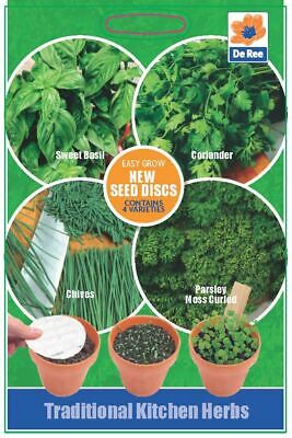 Traditional Kitchen Herbs 8cm Seed Disc Packet Of 1 Sweet Basil Coriander Chives