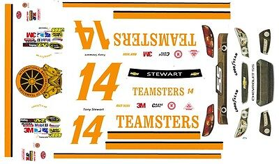 #14 Tony Stewart Teamsters 2013 Chevy 1/25th - 1/24th Scale Waterslide Decals