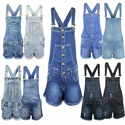 Ladies Womens Denim Dungaree New Playsuit Jumpsuit Dungarees Shorts Dress Jeans