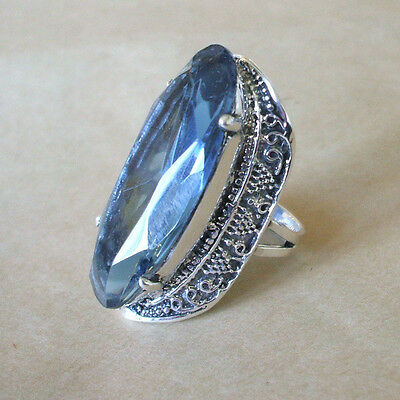 SALE: TAXCO MARIA ELENA MUNOZ Sterling Silver & HUGE BLUE CRYSTAL RING size 7.5