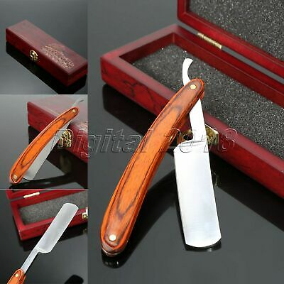 Wood Handle Straight Steel Razor Blades Barber Folding Shaving Knife Box Gift
