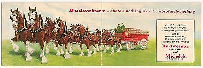 Budweiser Clydesdale 8-Horse Hitch Foldout Advertising Postcard