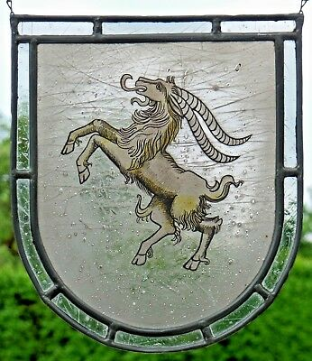 "LEADED GLASS WINDOW Image Old Glass Painting Emblem "" Billy Goat """