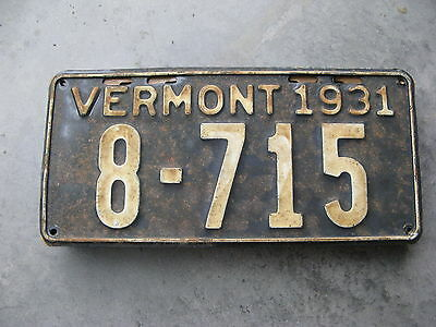 1931 31 Vermont Vt License Plate Tag 8715 Lee Roy Hartung Collection