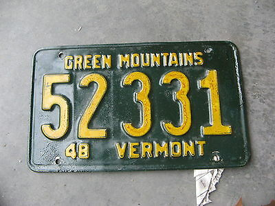1948 48 Vermont Vt License Plate Tag 52331 Lee Roy Hartung Collection