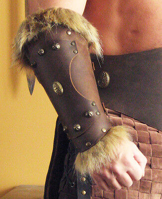 Medieval Armor Viking Barbarian Long Bracer with Fur